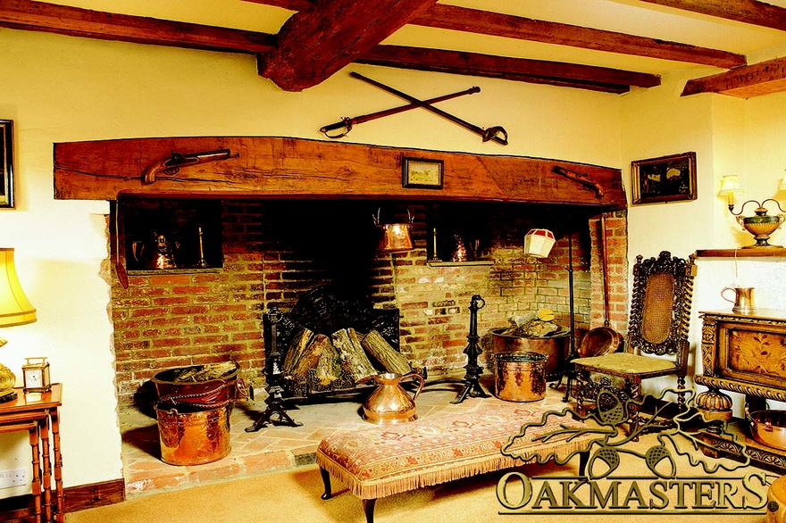 This Traditional Oak And Brick Fireplace Looks Good Enough