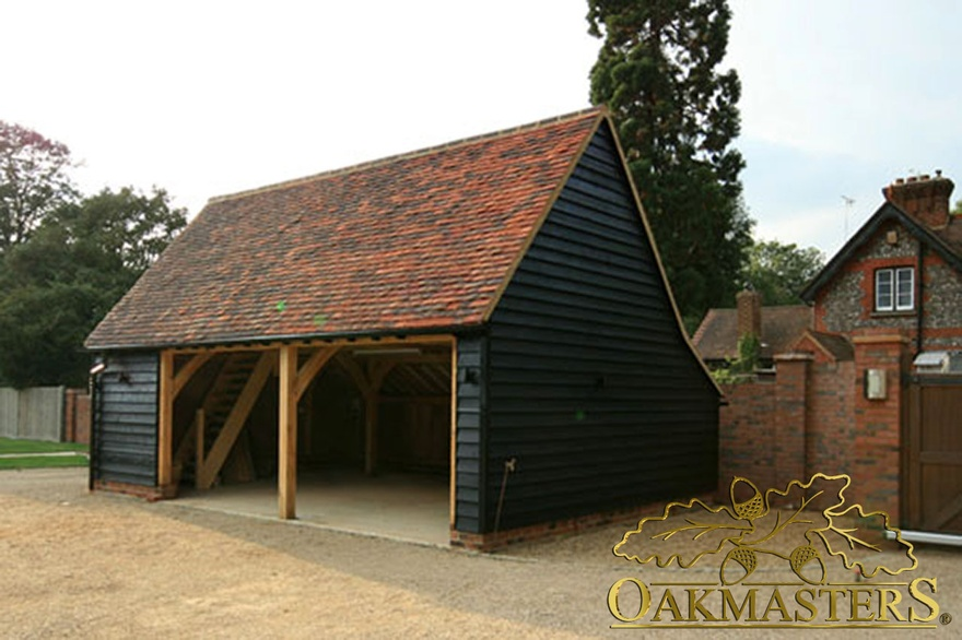 Two bay open oak garage with internal saircase 4959 for 2 bay garage