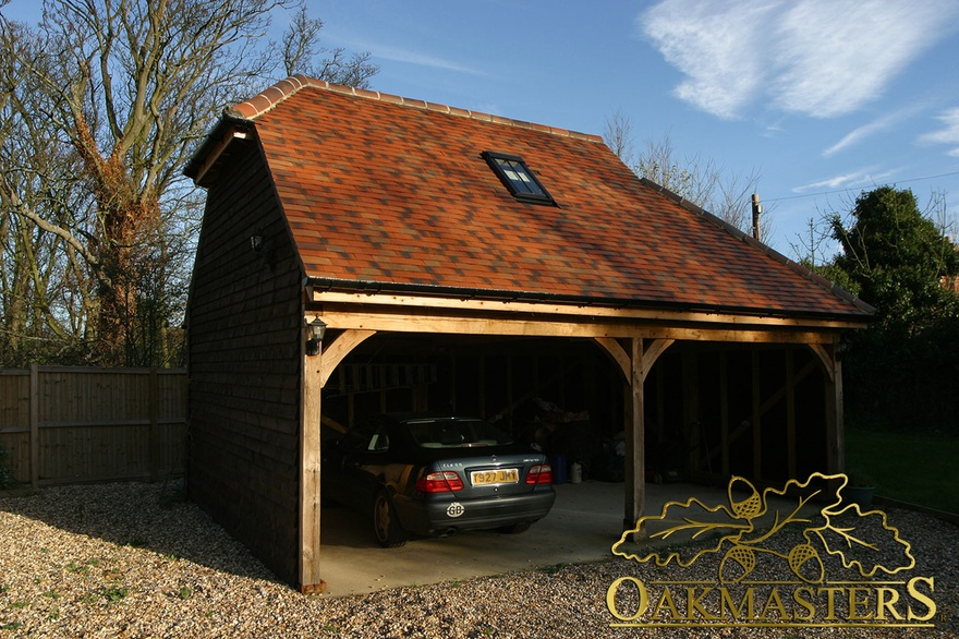 2 bay open oak garage with loft space oakmasters for 2 bay garage