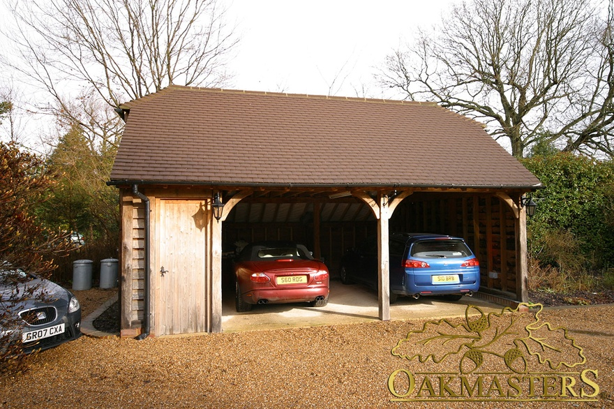 Two bay open oak garage with lockable shed 4963 oakmasters for 2 bay garage