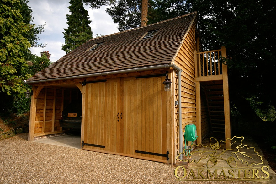 2 bay oak garage with log store and loft oakmasters for Two bay garage