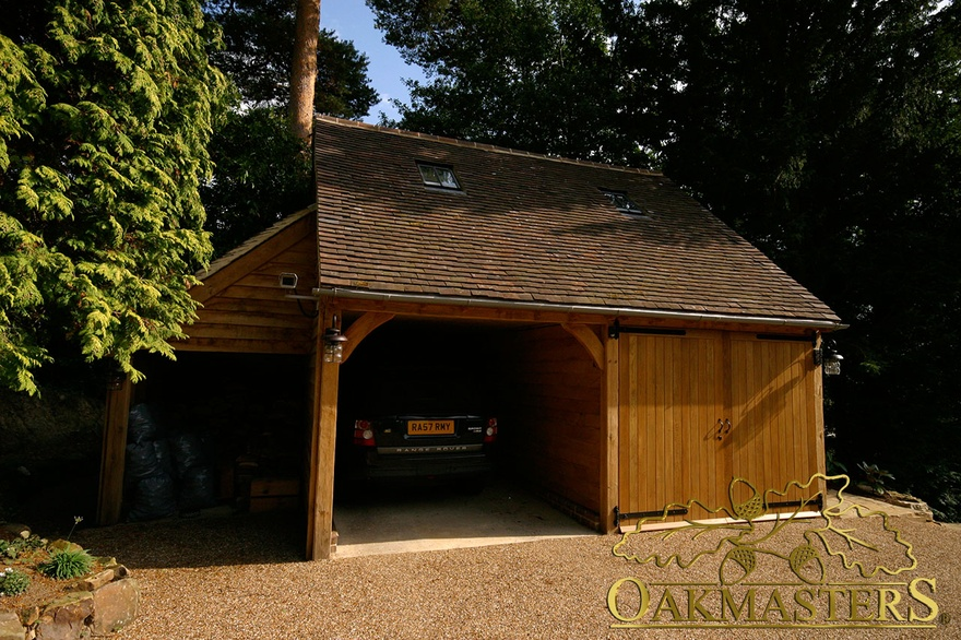 2 bay semi closed oak garage with log store and loft for 2 bay garage