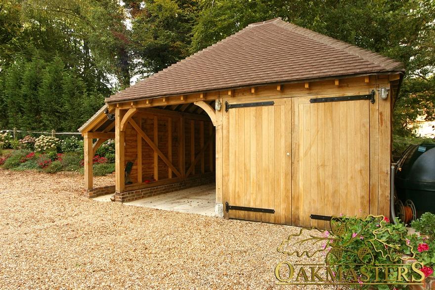 2 bay semi closed oak garage with log store oakmasters for 2 bay carport