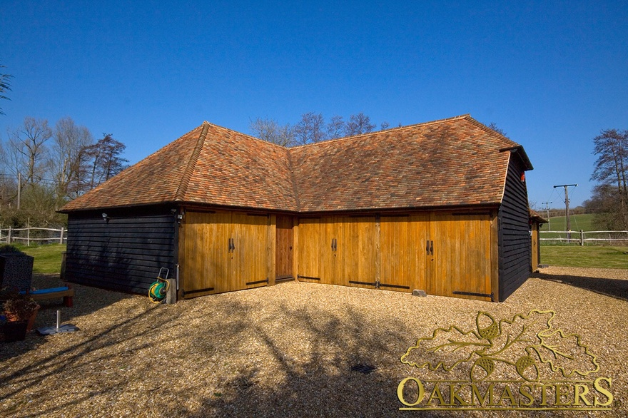 3 Bay Closed L Shaped Oak Garage With Log Store Oakmasters