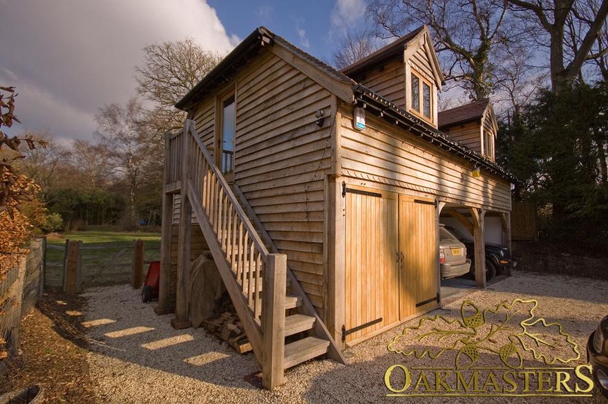 3-bay oak garage with loft and raised eaves - Oakmasters