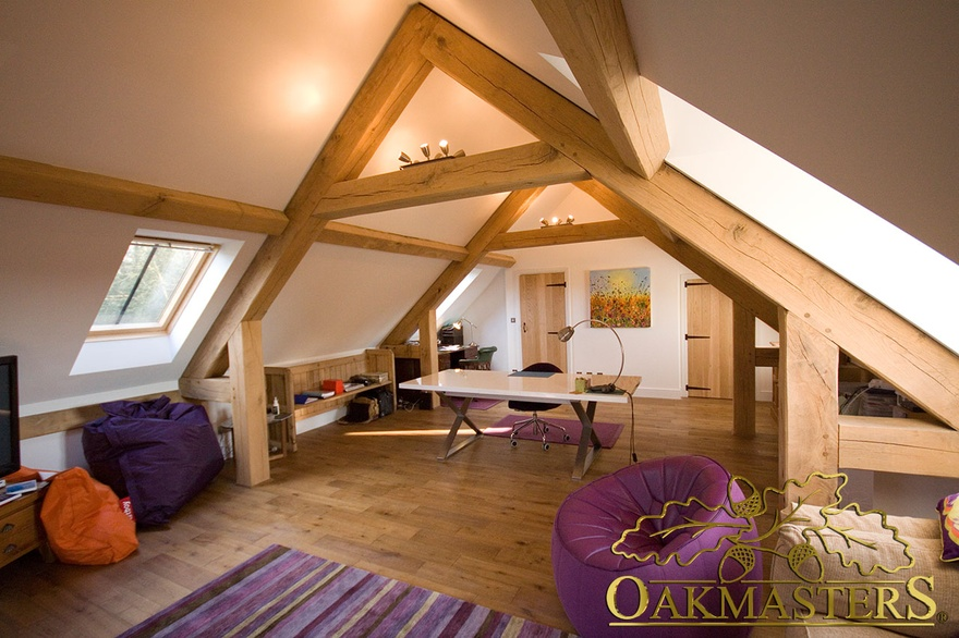 Raise Tie Trusses Allow For This Loft Office Space Above An Oak Framed Garage
