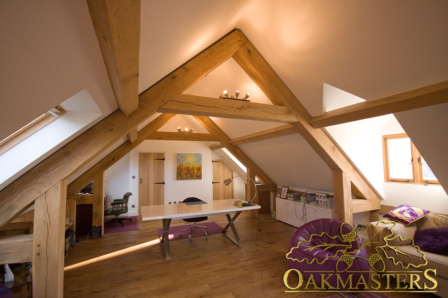 Interior Of A Three Bay Oak Framed Garage Loft Office