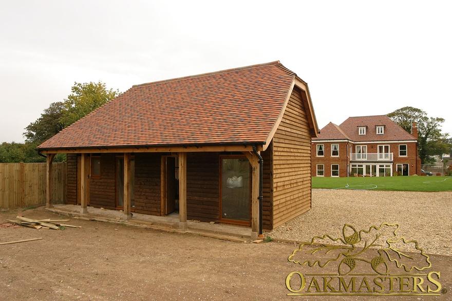 3 Bay Open L Shaped Oak Garage And Outbuilding Oakmasters