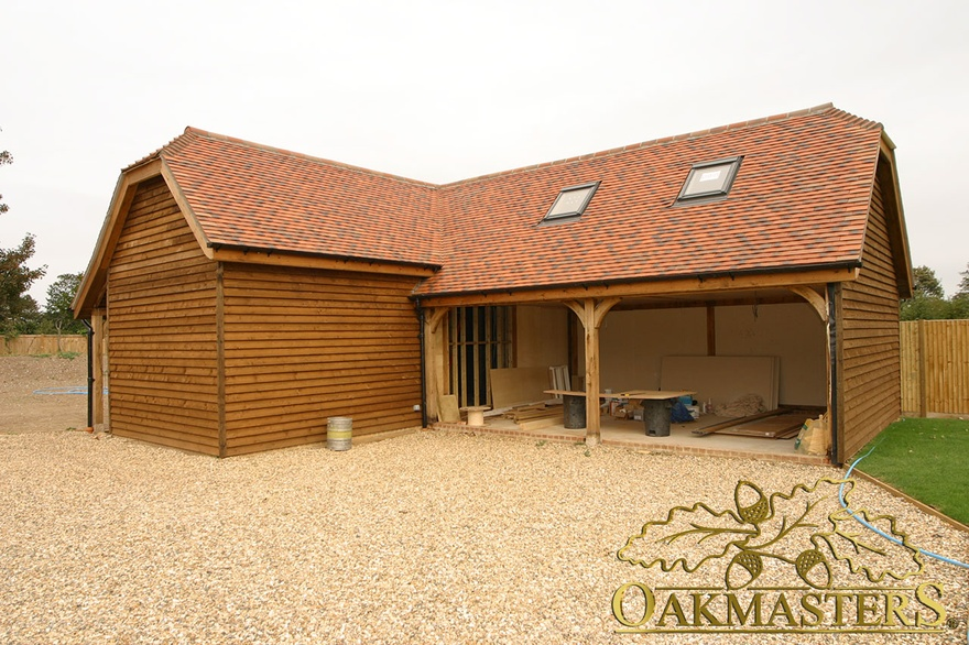 3 Bay Open L Shaped Oak Garage And Outbuilding Oakmasters