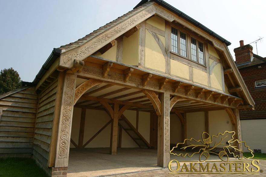 3 bay open oak garage with family loft room oakmasters for Three bay garage
