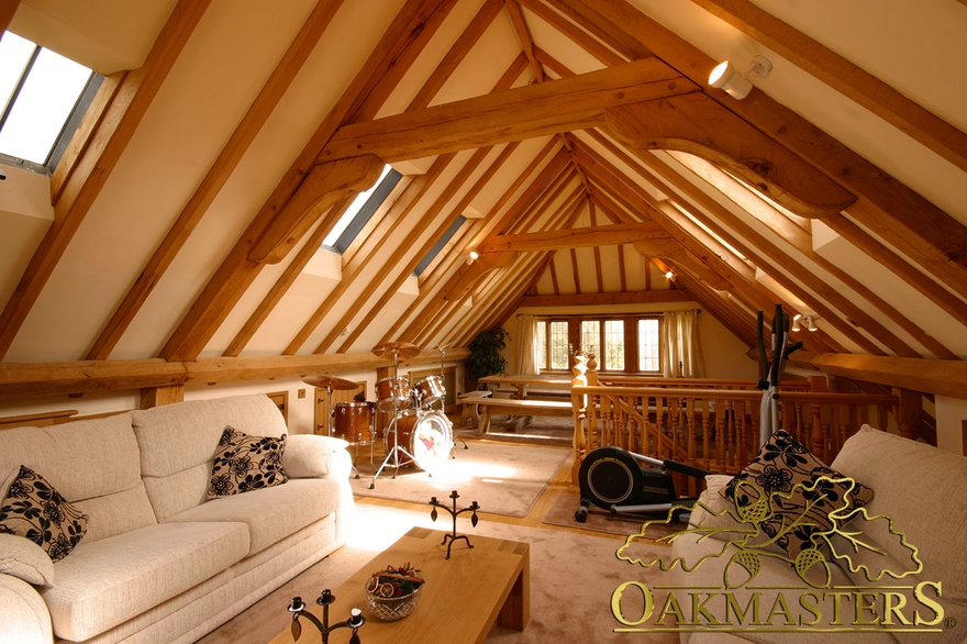 finished small attic space - 3 bay open garage with family loft room Oakmasters