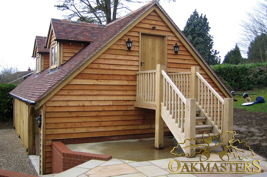 3 bay oak garage with loft and external stairs oakmasters for A frame garage with loft