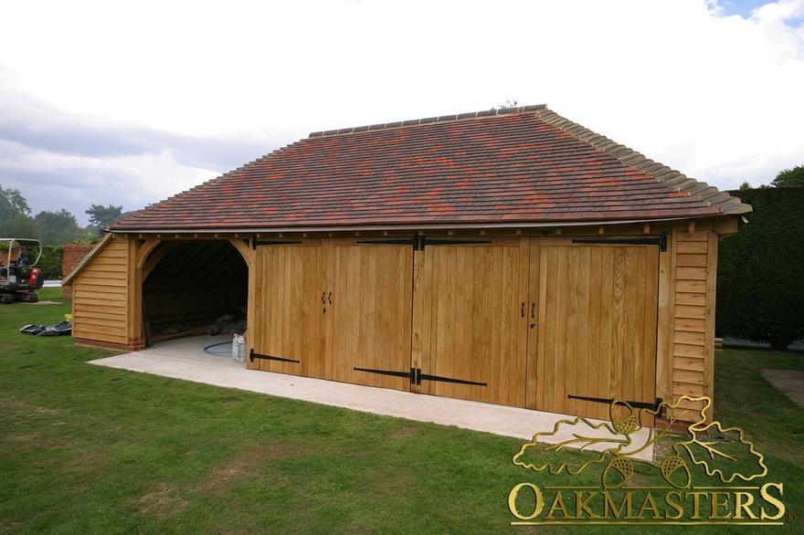 3 Bay Oak Garage With Enclosed Log Store Oakmasters