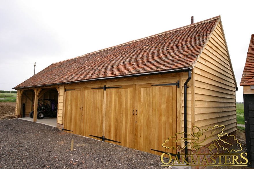 4 bay partially open oak garage with four doors oakmasters for 4 bay garage