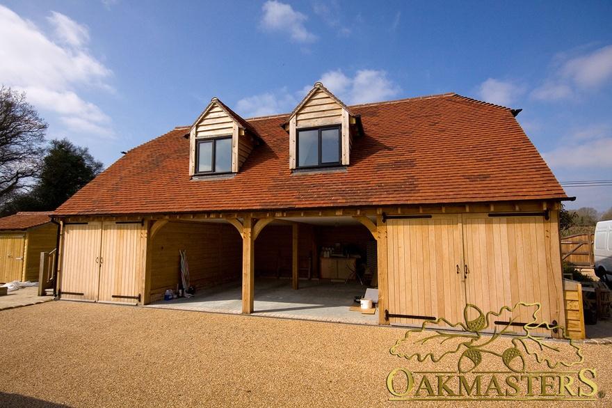 4 bay semi closed oak garage with loft space oakmasters for Due bay garage