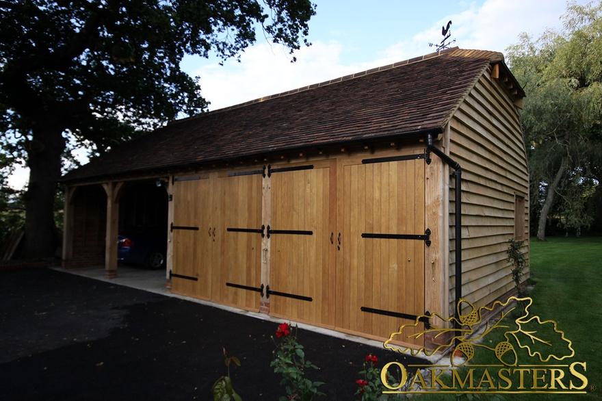4 Bay Semi Closed Oak Framed Garage 5017 Oakmasters