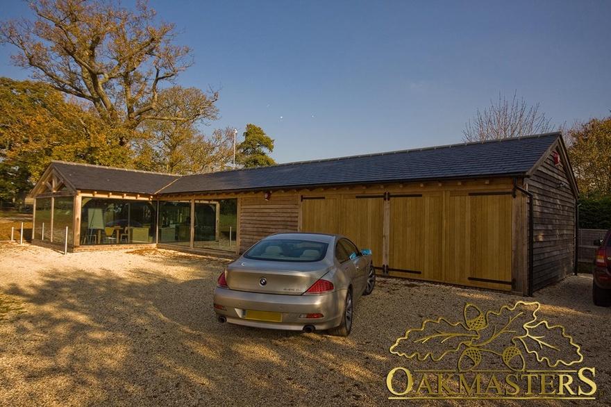 L shaped oak garage and glazed office complex 5057 for Oak garden office