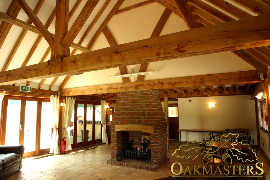 Bespoke Oak Trusses And Rafters Above Central Brick