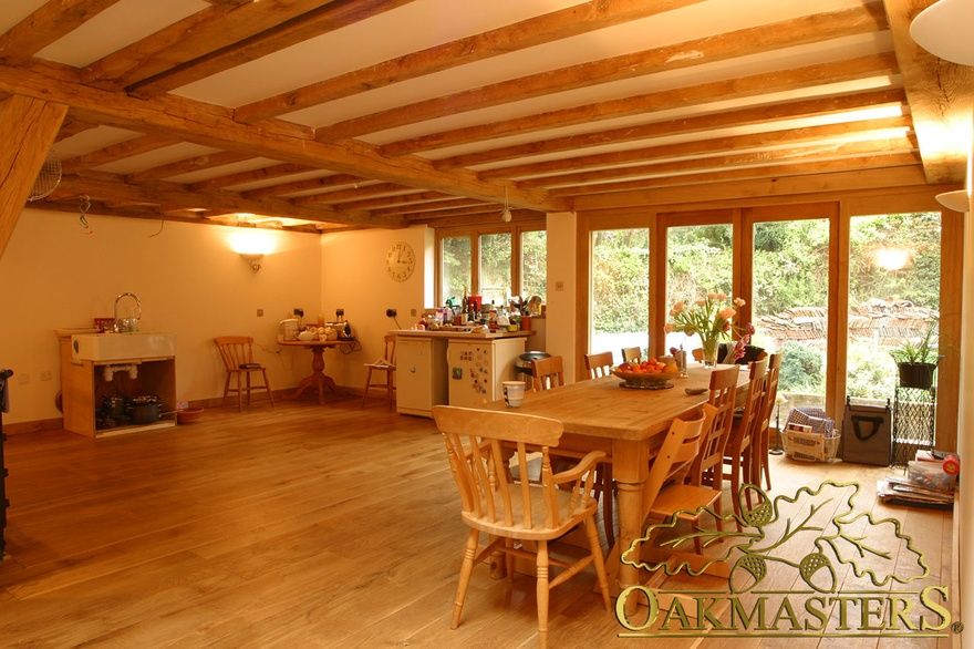 Simple Kitchen Extension modern kitchen extension with simple exposed beams and oak frame