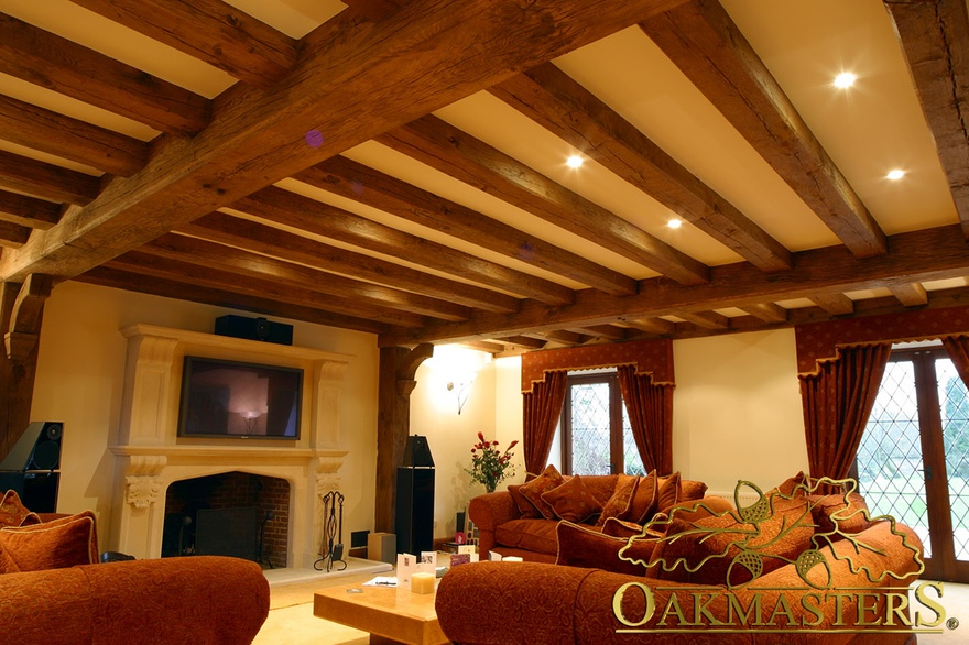 Heavy oak ceiling layout in a country house - 164833