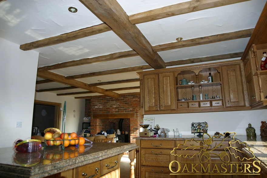 Sparser joists brighten the ceiling in this country kitchen - 152937