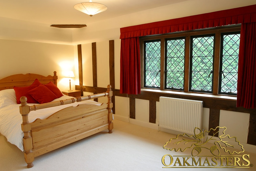 Create the effect of an exposed stud wall with oak wall cladding