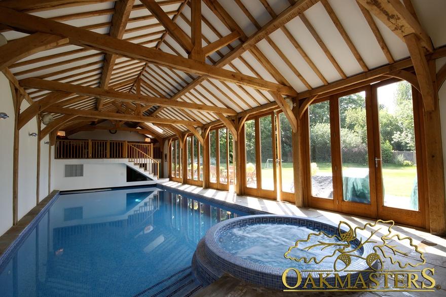 Vaulted Oak Pool House With Internal Gallery Oakmasters