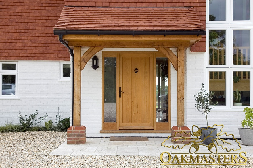 Open porch with oak posts and brackets 5421 oakmasters for Open beam front porch