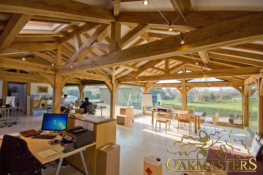 Low Pitch Roof In Office Given Height With Vaulted Ceiling