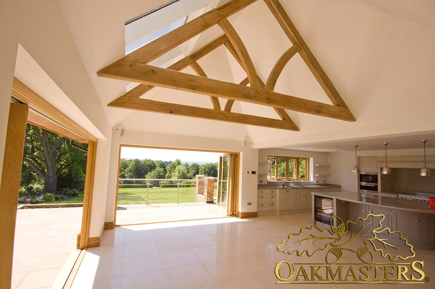 Exposed truss and vaulted ceiling on minimalist kitchen extension