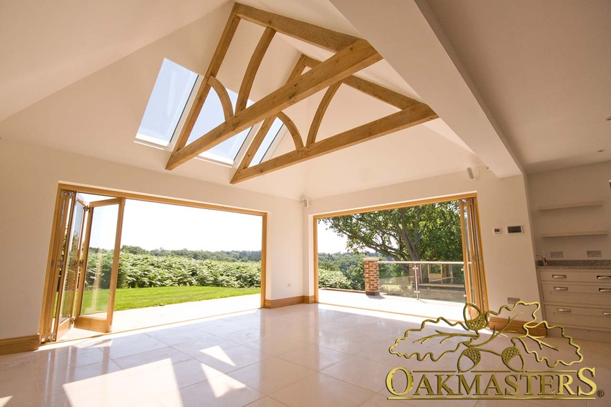 Vaulted ceiling bungalow uk for Exposed trusses cost