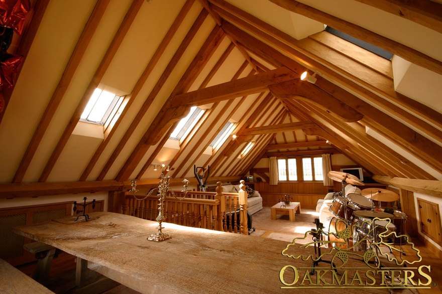 Exposed Roof Rafters And Oak Trusses Make This Garage Loft Look Like A Cosy  Cottage