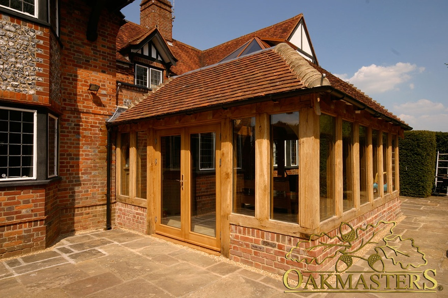 Garden room on listed brick manor house oakmasters for Wooden garden rooms extensions