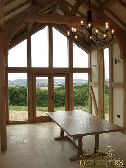 Glazed Gable And Full Height Windows Vaulted Ceiling And