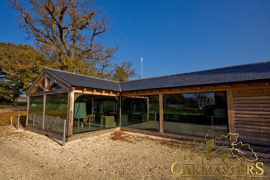 Glazed garden room office in sussex oakmasters for Oak garden office