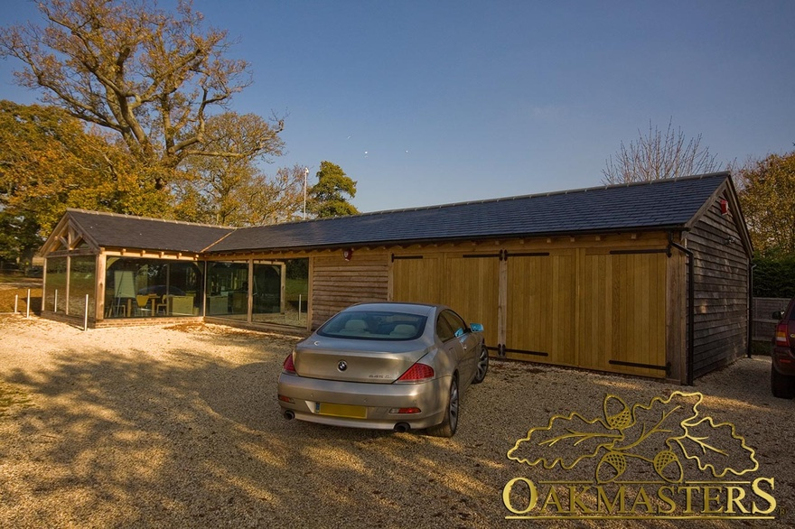 L Shaped Glazed Garden Room Office And Double Bay Garage
