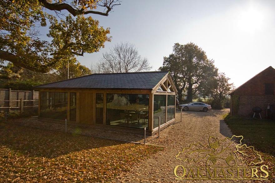 Exterior of glazed oakframed garden room office 5657 for Oak garden office