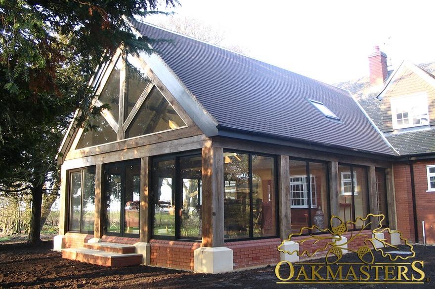 glazed sunroom linked to the house oakmasters. Black Bedroom Furniture Sets. Home Design Ideas