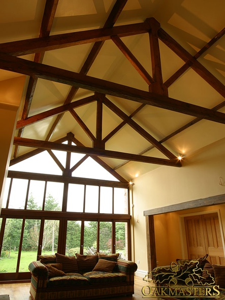 High Vaulted Ceiling With Handcrafted Oak Truss Before