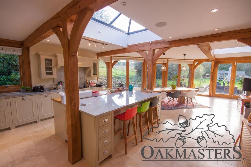 Modern glazed orangery style extension oakmasters for Oak garden rooms