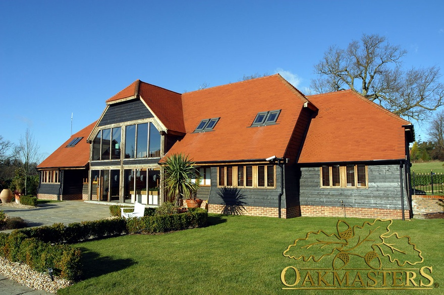 Oak framed marketing suite in Bolnore Sussex