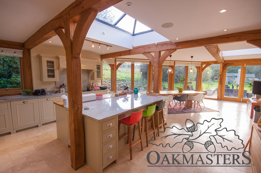 Roof lantern is a great way to stream light into an oak framed garden room