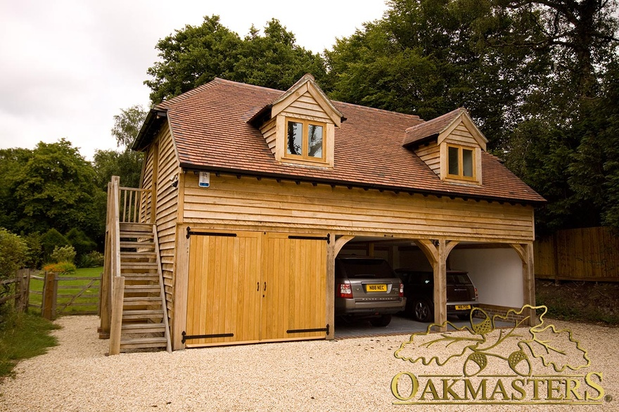 3 bay oak garage with loft and raised eaves oakmasters for 2 bay garage