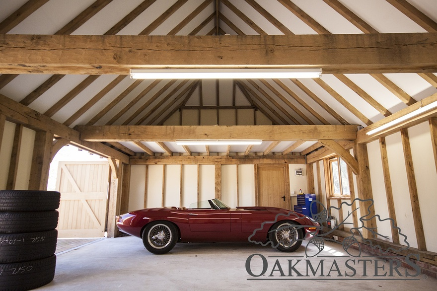 2 bay closed oak framed garage with a hipped roof oakmasters for A frame garage with loft