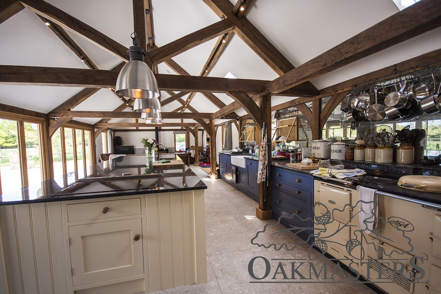 The former stable block now accommodates a large kitchen with a beautiful oak vaulted ceiling