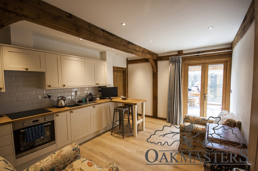 There is also space for a generous utility room with feature oak posts and ceiling beam