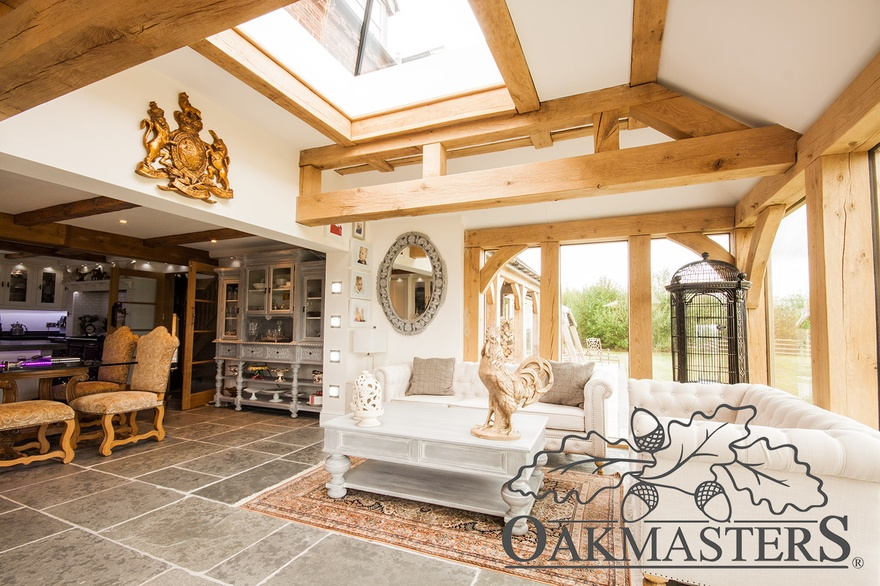 Open plan oak framed kitchen and living space