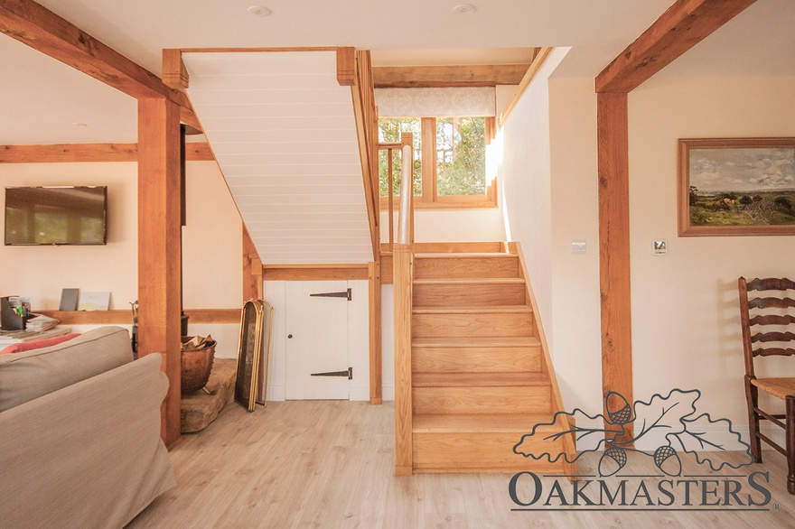 Lovely stairwell opens into the open plan living area downstairs.