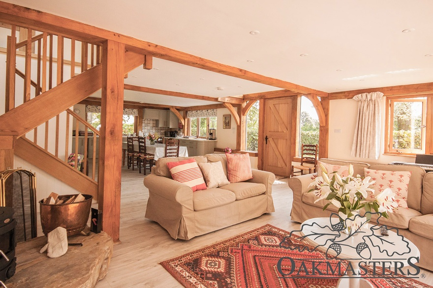 Despite the small footprint, this open plan oak cottage feels really spacious.