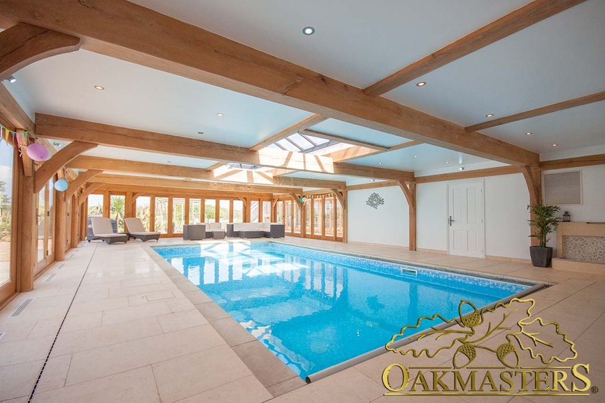 Oak Pool House With Low Profile Flat Roof Oakmasters